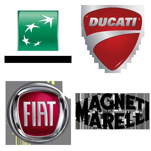 Logo BNP, Ducati, Fiat, Magneti Marelli