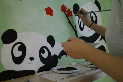 Panda dipinti sul muro